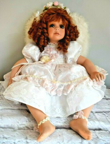 """Denise McMillan Angel Doll Signed Real Feather Wings Red Hair Green Eyes 27"""""""