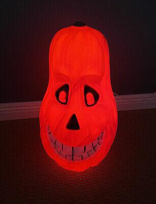 Vintage Halloween Lighted Blow Mold Grinning Jack O Lantern Pumpkin Yard Decor