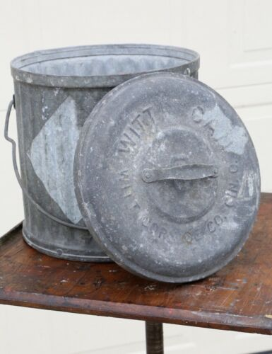 Vintage WITT Galvanized Garbage / Trash Can with Lid and Handle industrial #8