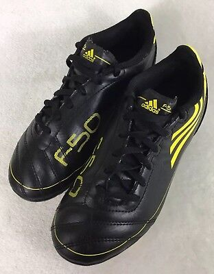 7ea64dec3e4 ADIDAS F50 FG Black Yellow Soccer Cleats Shoes Youth Size 2