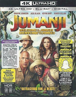 JUMANJI WELCOME TO THE JUNGLE 4K ULTRA HD + BLU-RAY+ DIGITAL Brand New &