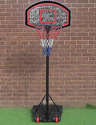 FREE STANDING BASKETBALL NET HOOP BACKBOARD STAND SET WHEELS PORTABLE ADJUSTABLE