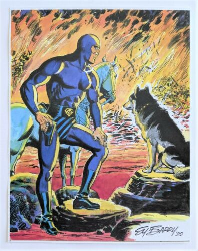 """The Phantom 2020 USA Sy Barry Original """"Bushfire Rescue Team"""" Ltd. Color Prnt"""
