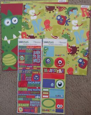 Reminisce 12x12 Scrapbook Paper Monsters