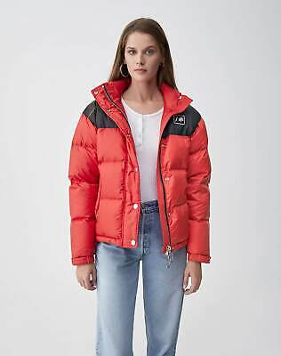 Re/Done x ienki ienki red cropped down quilted puffer jacket size S