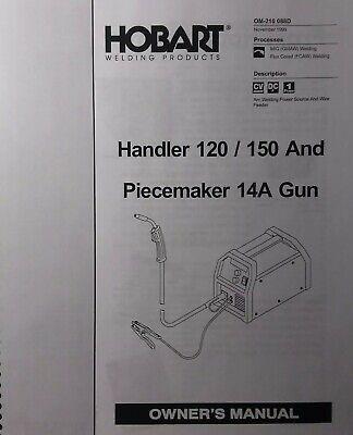 Hobart Handler 120 150 14a Wire Feed Gun Mig Welder Operating Parts Manual