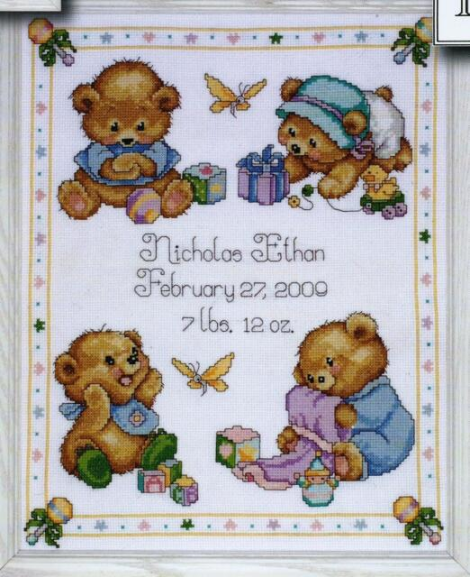 Tobin Baby Design Works Cross Stitch Kit - Baby Bear Sampler