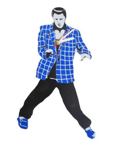 Elvis Presley Pendulum Blue Stripe Suit Wall Clock Swinging Legs and Hips free S