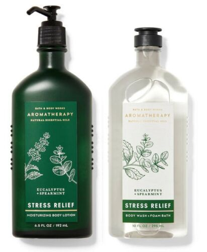 Bath & Body Works Aromatherapy Set Lotion & Body Wash Stress Relief Eucalyptus