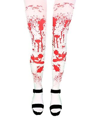 LADIES HALLOWEEN WHITE BLOOD STAINED TIGHTS ZOMBIE FANCY DRESS PARTY COSTUME  - Halloween Zombie Costumes