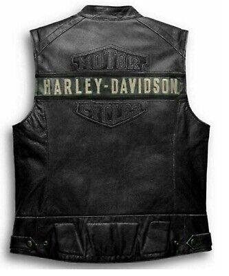 Mens Harley Davidson Top Genuine Leather Vest Biker Cafe Racer Motorcycle Jacket