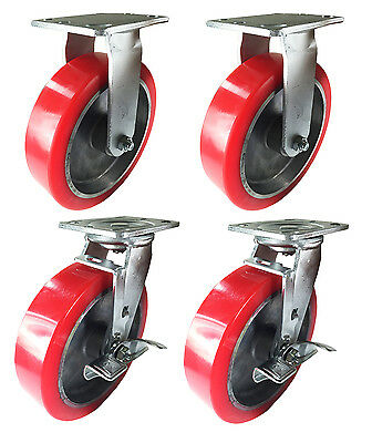 8 X 2 Aluminum Wheel Casters - 2 Rigids 2 Swivels With Brake