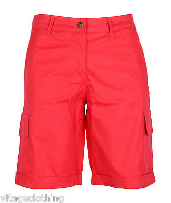 Womens Cotton Combat Canvas Chino Cargo Shorts Knee Length Summer ...
