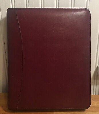 Franklin Quest Covey Binder Planner Burgundywine Genuine Leather Classic Zipper