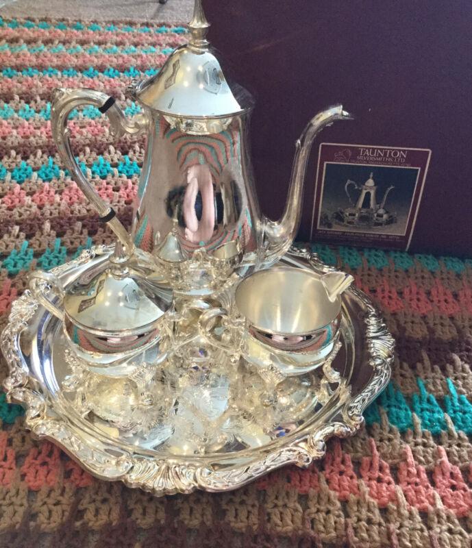 Antique Sheridan Taunton Silversmiths Silver Plate 5 Pc Coffee Set Jack Shepard
