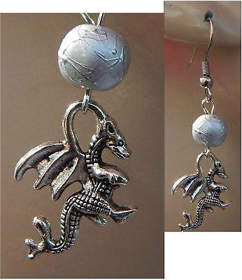 Earrings Dragon Silver Charm Drop Dangle Ear NEW Fashion Vintage Fashion