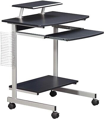 Compact Mobile Computer Desk With A Pullout Keyboard Tray And Shelf In Graphite