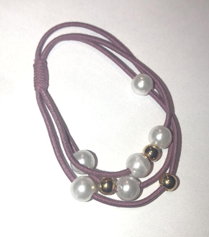 "Elastic HAIR Band  Convert to bracelet  6 Colors "" Barely Plum"""