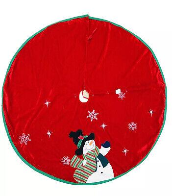 44 In Red Vevet Snowman Christmas Tree Skirt