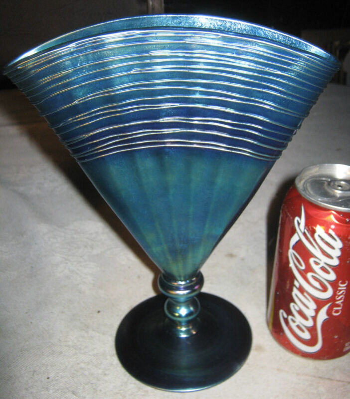 ANTIQUE STEUBEN BLUE AURENE ART DECO GLASS FAN FLOWER GARDEN VASE # 6287 MINT!!