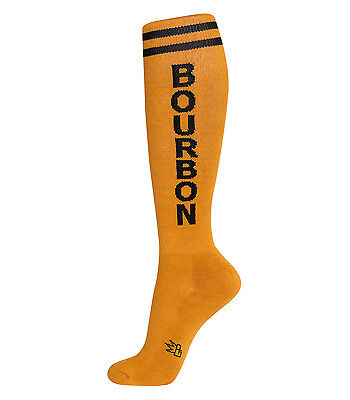 BOURBON Unisex Athletic Knee Socks, Gold & Black, by Gumball Poodle (Gold Gumballs)