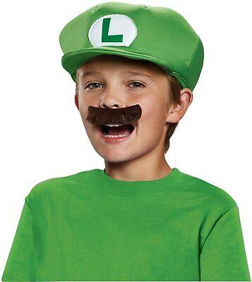 Kinder Super Mario Bros Luigi Hut Mütze & Schnurrbart für Jungen Nintendo Kostüm