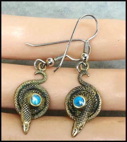 Vintage Pierced Earrings Coiled Snake Viper Asp  / With Bezel Set Turquoise