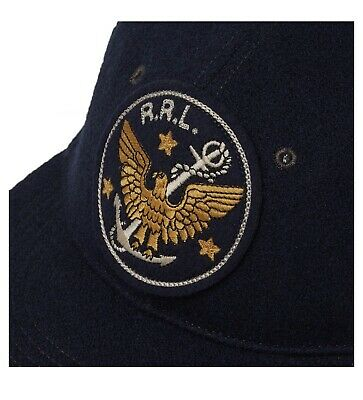 Double RL Ralph Lauren RRL Wool Twill Military Baseball Cap Hat Blue Small S