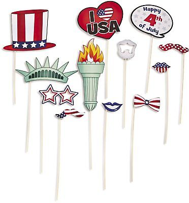 12 Pcs American Patriotic Paper Photo Booth Stick Prop 4th of July Celebration ](4th Of July Photo Booth Props)
