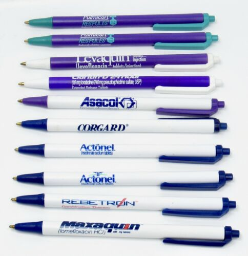 Rare Lot 10 Thin  Drug Rep Pharmaceutical BIC Pens