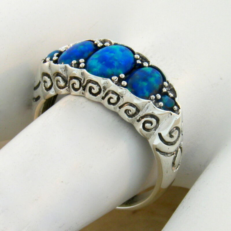 ART NOUVEAU ANTIQUE STYLE 925 STERLING SILVER BLUE LAB FIRE OPAL RING SZ 7  #227