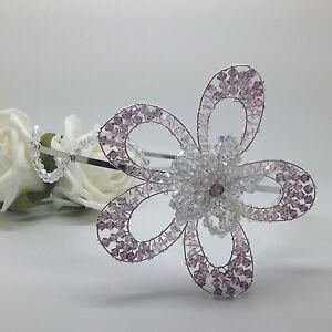 Handmade-Wedding-Silver-tone-Side-Set-Crystal-Flower-Bridal-Tiara