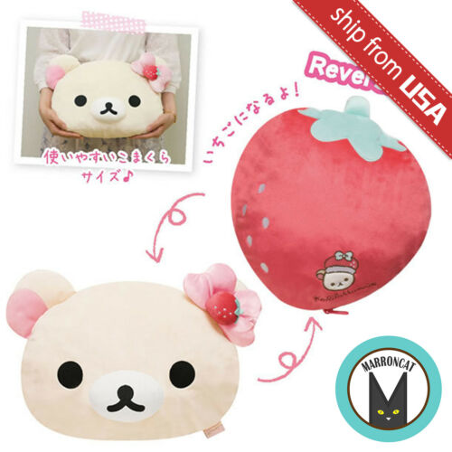 Japan San-X Rilakkuma Korilakkuma Pink Strawberry Plush Reversible Cushion Cute