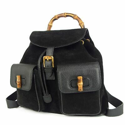 Auth GUCCI Vintage Bamboo Leather Drawstring Backpack Bag Italy F/S 10088bkac
