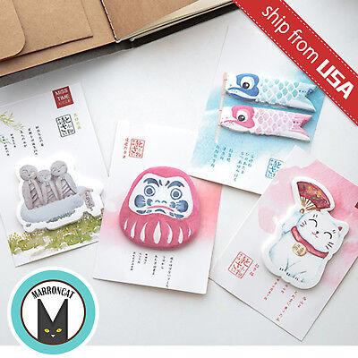 Lot 4 Kawaii Cute Japanese Lucky Cat Memo Pad Stationery Sticky Notes Sticker Us