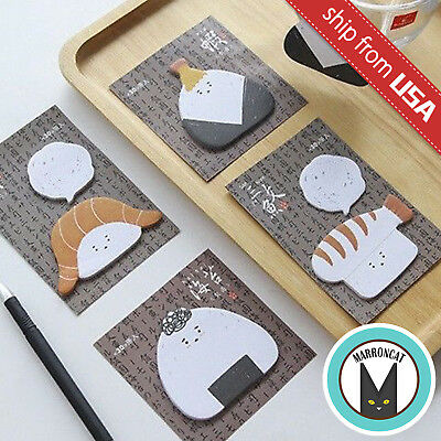 Lot 4 Cute Japan Sushi Onigiri Rice Ball Stationery Sticky Notes Kawaii Memo Pad