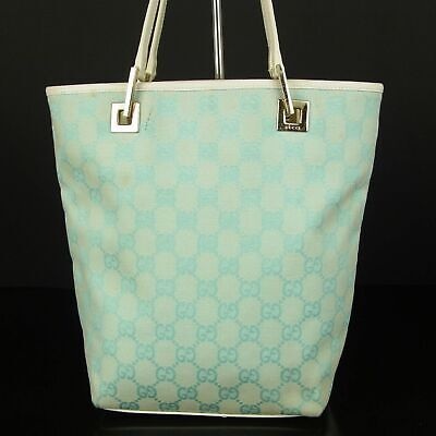 Auth GUCCI GG Logos Canvas Leather Small Tote Hand Bag Italy F/S 12090b
