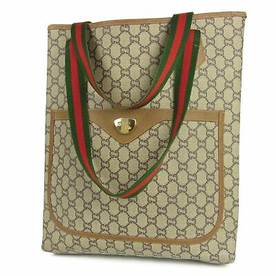 Auth GUCCI Vintage GG Plus Web PVC Leather Shoulder Tote Bag F/S 12019b
