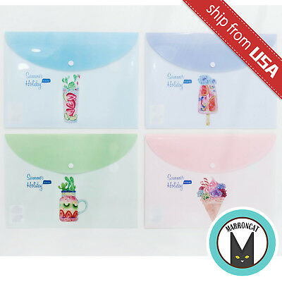 Lot 4 Summer Holiday Succulent Ice Cream A4 File Folder Document Holder Bag Cute - Cute Folders