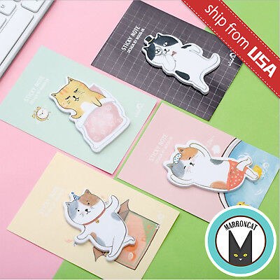 Lot 4 Kawaii Cute Lazy Funny Cartoon Cat Kitty Memo Pad Stationery Sticky Notes