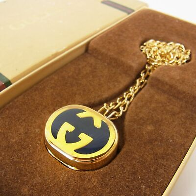 Auth GUCCI Vintage GG Interlocking Pill Case Chain Necklace Pendant 17865bkac