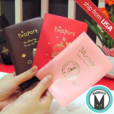 Korean Faux Leather US Passport Cover Travel Ticket Book Holder Case Kawaii Cute](Passport Books)