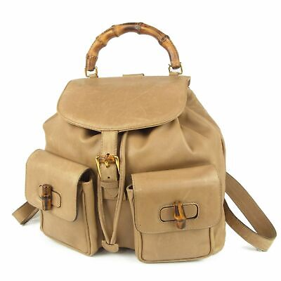 Auth GUCCI Vintage Bamboo Leather Drawstring Backpack Bag Italy F/S 13415bkac