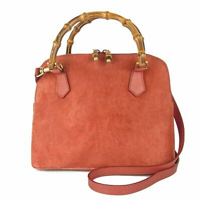 Auth GUCCI Vintage Bamboo Leather 2WAY Shoulder Hand Bag Italy F/S 11665bkac