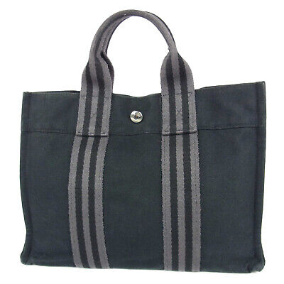 Auth HERMES Fourre Tout PM Canvas Tote Hand Bag France F/S 16029bkac