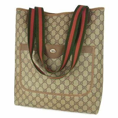 Auth GUCCI Vintage Web GG Logos PVC Canvas Tote Hand Bag Italy 12197b