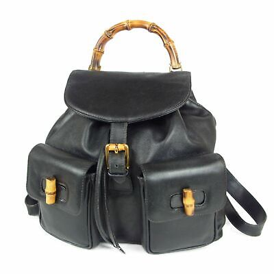 Auth GUCCI Vintage Bamboo Leather Drawstring Backpack Bag Italy F/S 15363bkac