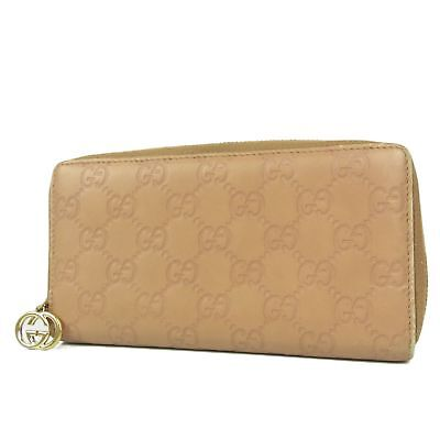 Auth GUCCI GG Guccissima Leather Zip Around Long Wallet Purse F/S 1418