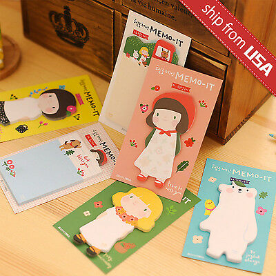 Lot 6pcs Kawaii Cute Girl Memo Pad Korean Stationery Cartoon Sticky Notes Post