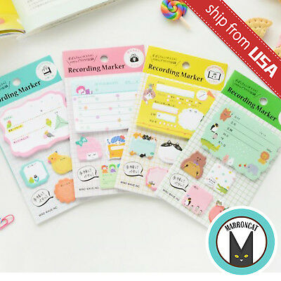 Lot 4 Japanese Kawaii Cat Memo Pad Diary Journal Sticky Notes Index Tab Sticker